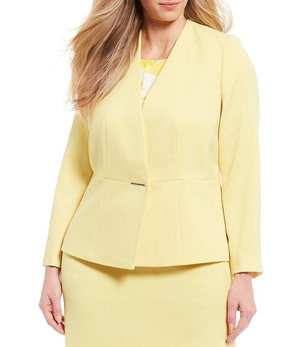 タハリエーエスエル レディース ジャケット・ブルゾン アウター Plus Size Long Sleeve Twill Metal Bar Snap Closure Detail Jacket Lemon Yellow
