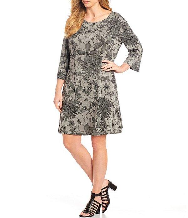 ブライン ウォーカー レディース ワンピース トップス Plus Size Irys Stretch Jersey Floral Print 3/4 Sleeve Shift Dress Gallery