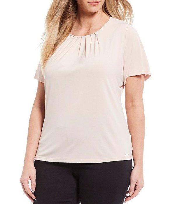 カルバンクライン レディース シャツ トップス Plus Size Matte Jersey Pleat Neck Short Sleeve Top Blush