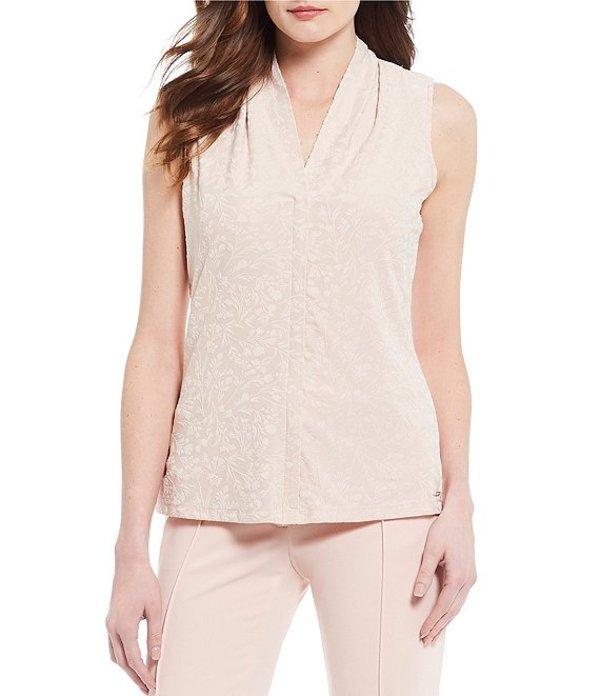 カルバンクライン レディース タンクトップ トップス Embossed Floral Jacquard Knit V-Neck Sleeveless Top Blush