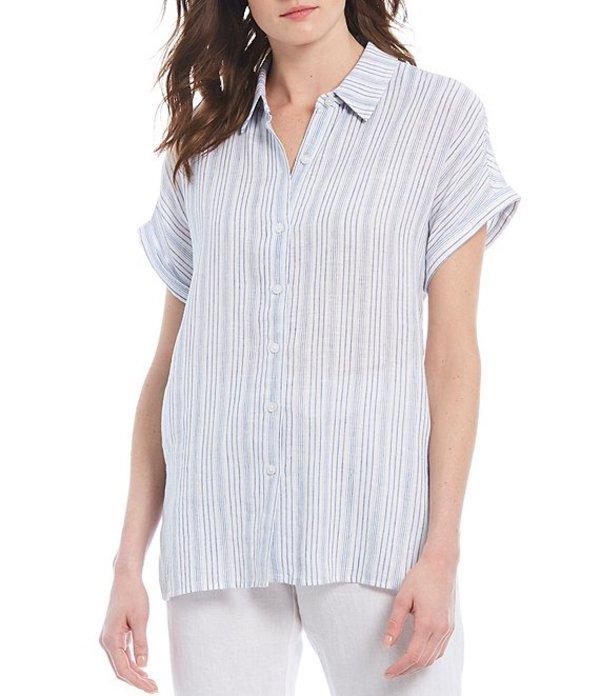 トッミーバハマ レディース シャツ トップス Tamil Stripe Short Sleeve Button Front Shirt Turkish Sea