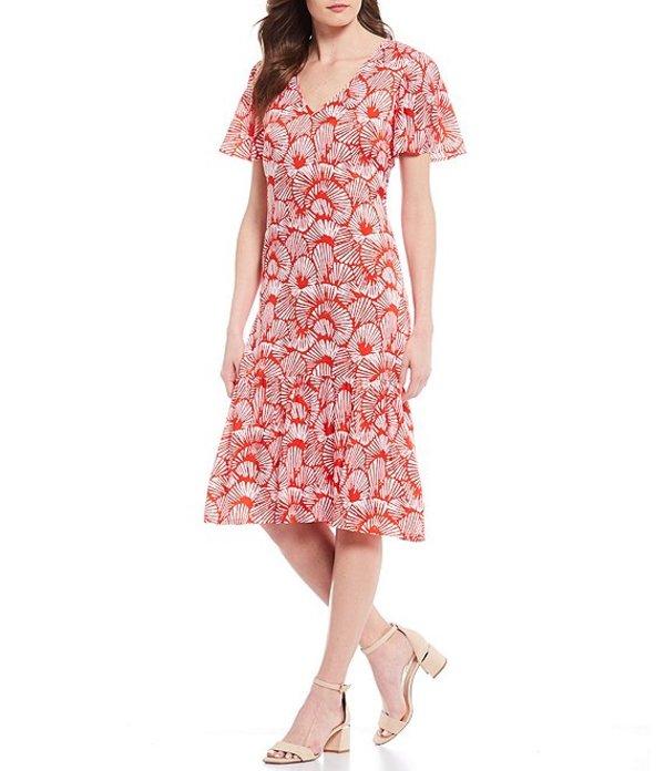 トッミーバハマ レディース ワンピース トップス Shell We Dance Short Sleeve Printed A-Line Midi Dress Poppy Red