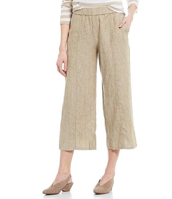 エイリーンフィッシャー レディース カジュアルパンツ ボトムス Organic Washed Linen Delave Effect Pull-On Wide Cropped Pants Khaki