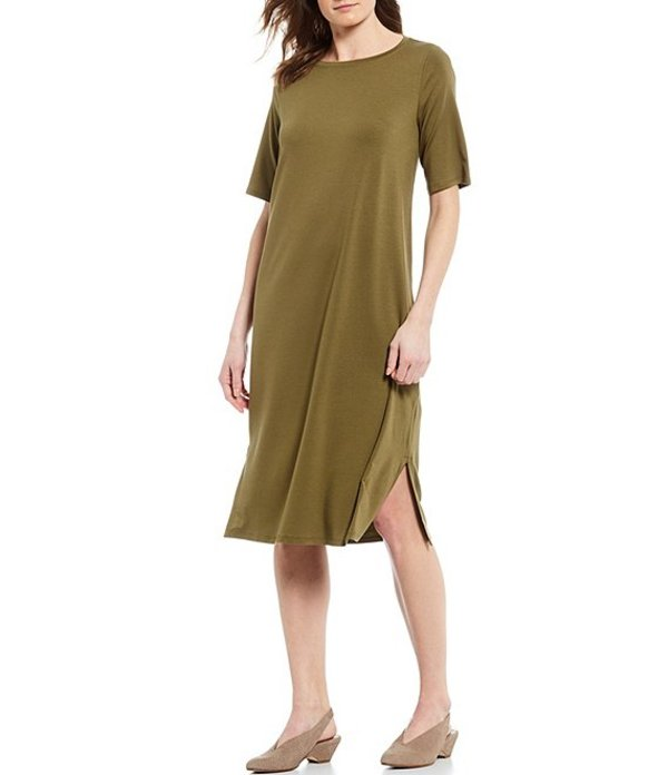 エイリーンフィッシャー レディース ワンピース トップス Fine Tencel Jersey Round Neck Short Sleeve Side Slit Detail Midi Dress Olive