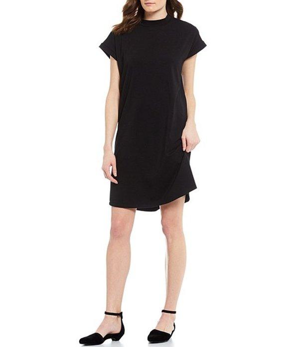 エイリーンフィッシャー レディース ワンピース トップス Organic Cotton Blend Stretch Jersey Mock Neck Curved Hem Shift Dress Black
