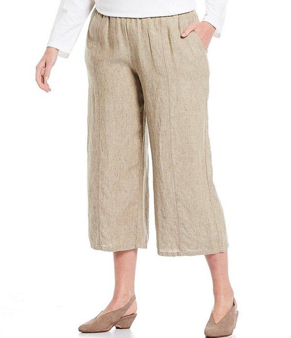 エイリーンフィッシャー レディース カジュアルパンツ ボトムス Plus Size Organic Washed Linen Delave Pull-On Wide Cropped Pants Khaki
