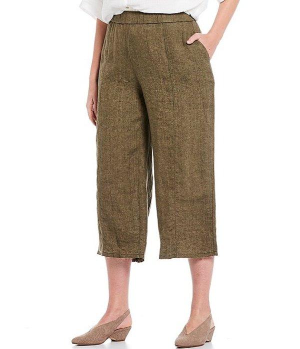 エイリーンフィッシャー レディース カジュアルパンツ ボトムス Plus Size Organic Washed Linen Delave Pull-On Wide Cropped Pants Olive