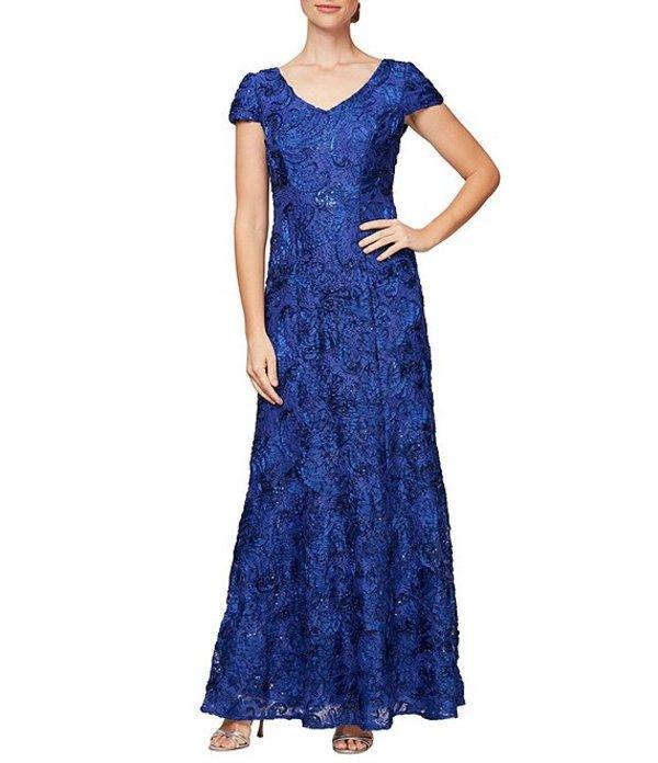 アレックスイブニングス レディース ワンピース トップス Soutache Embroidered Lace V-Neck Gown Royal