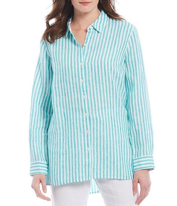 トッミーバハマ レディース シャツ トップス Cabana Stripe Long Sleeve Linen Shirt Aqua Aloha