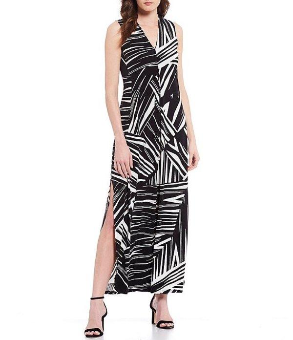 トッミーバハマ レディース ワンピース トップス Bangle Stripe Sleeveless V-Neck Maxi Dress Black