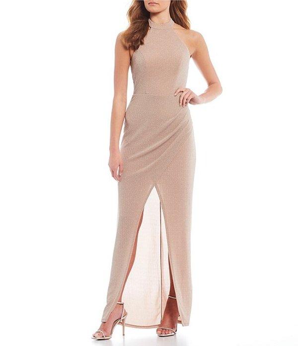 シティヴァイブ レディース ワンピース トップス High-Neck Glitter Knit Long Dress Blush/Silver