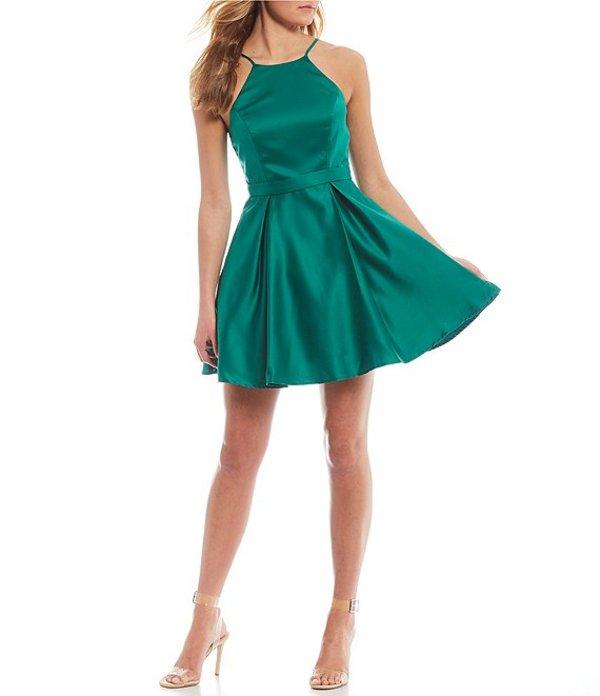 シティヴァイブ レディース ワンピース トップス Sleeveless High-Neck Satin Fit-and-Flare Dress Jade