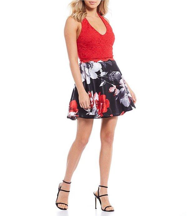 シティヴァイブ レディース ハーフパンツ・ショーツ ボトムス Sleeveless Lace Top with Floral Skirt Two-Piece Dress Black/Red/Orange