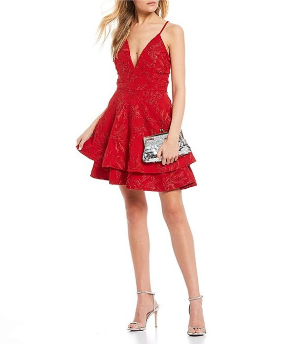 ハニーアンドロージー レディース ハーフパンツ・ショーツ ボトムス Lace Bra-Back Double Hem Fit-and-Flare Dress Red