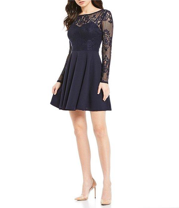 シティヴァイブ レディース ハーフパンツ・ショーツ ボトムス Long Sleeve Lace Bodice Fit-and-Flare Dress Navy