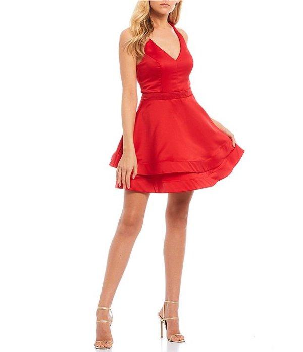 シティヴァイブ レディース ワンピース トップス Bow-Back Double Hem Fit-and-Flare Satin Dress Red