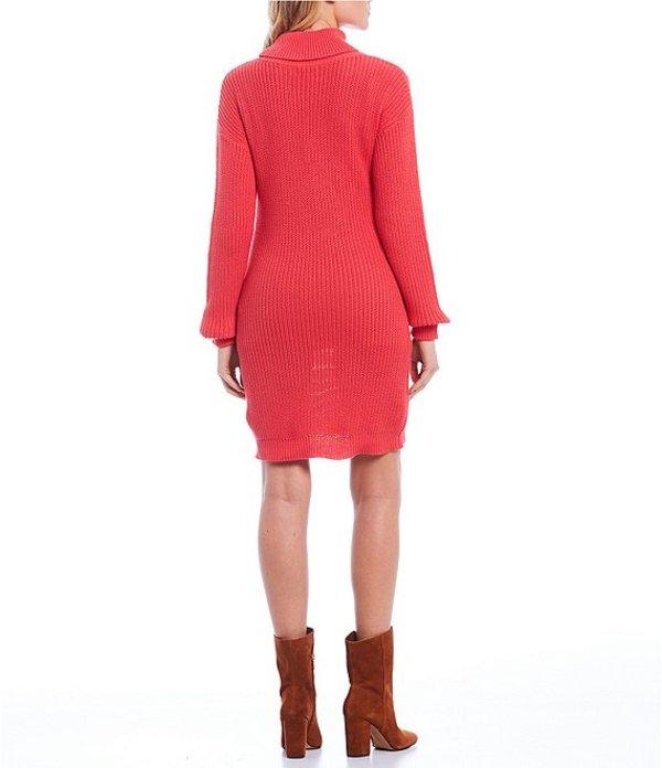 ミッドナイト ドール レディース ワンピース トップス Long Sleeve Turtle Neck Sweater Dress Hot PinkQhCtxsrd