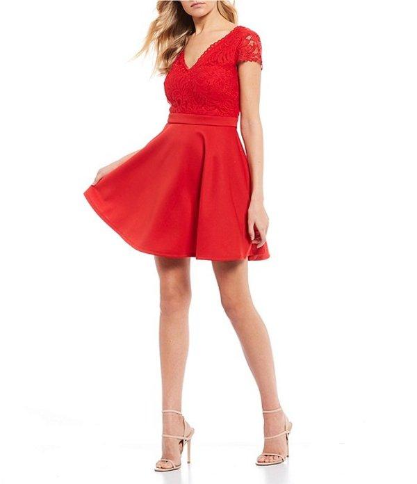 シティヴァイブ レディース ワンピース トップス Cap Sleeve Lace Fit-and-Flare Dress Red