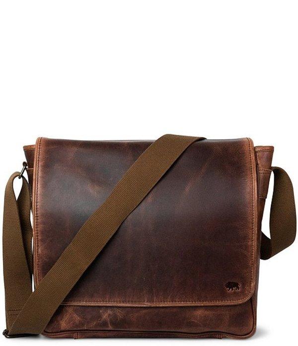 バッファロージョンソン メンズ ショルダーバッグ バッグ Roosevelt Leather Satchel Messenger Bag Dark Oak