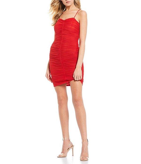 ミッドナイト ドール レディース ワンピース トップス Spaghetti Strap Ruched Mini Dress Red