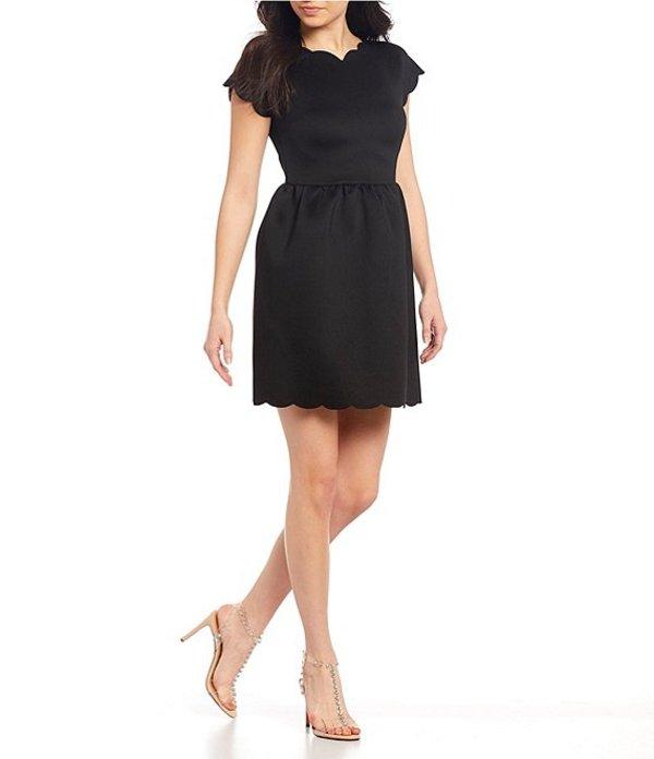 ミッドナイト ドール レディース ワンピース トップス Cap-Sleeve Scalloped Fit-and-Flare Dress Black