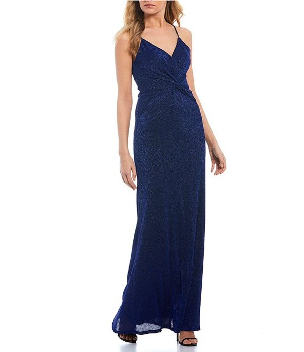 シティヴァイブ レディース ワンピース トップス Spaghetti Strap Twist-Front Glitter Pleated Knit Long Dress Royal