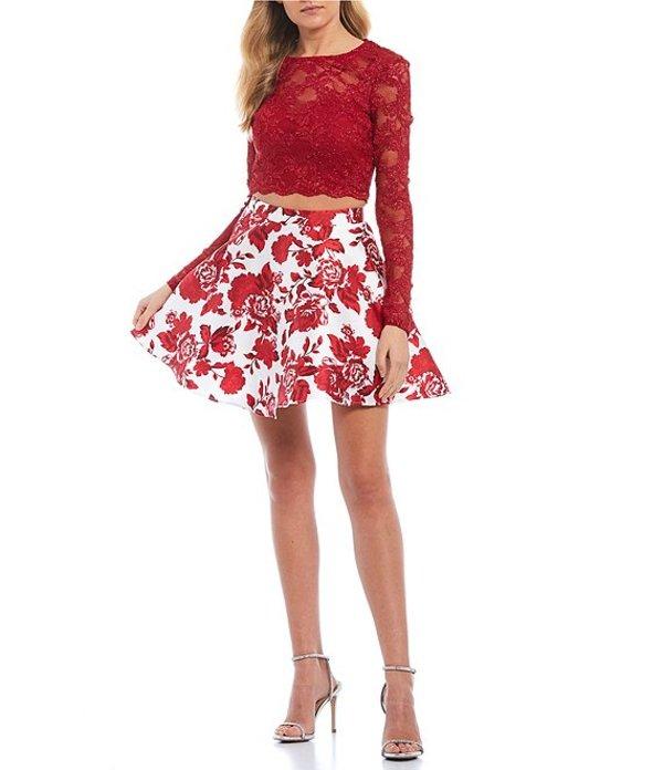 シティヴァイブ レディース ハーフパンツ・ショーツ ボトムス Long Sleeve Lace Top with Floral Print Skirt Two-Piece Dress Ruby/Ivory