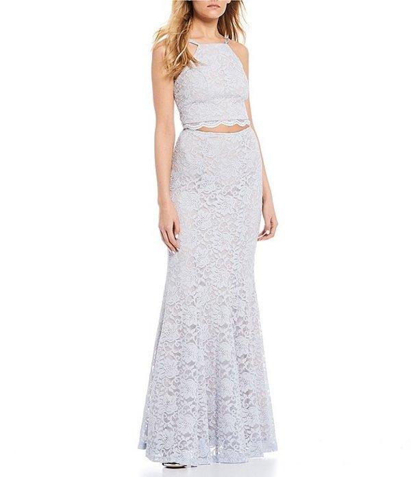 シークインハーツ レディース ワンピース トップス Spaghetti Strap Glitter Lace Trumpet Two-Piece Long Dress Silver