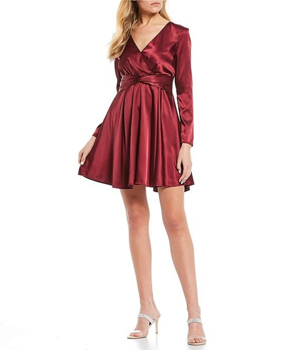 シークインハーツ レディース ワンピース トップス Long Sleeve Surplice Satin Fit-and-Flare Dress Berry