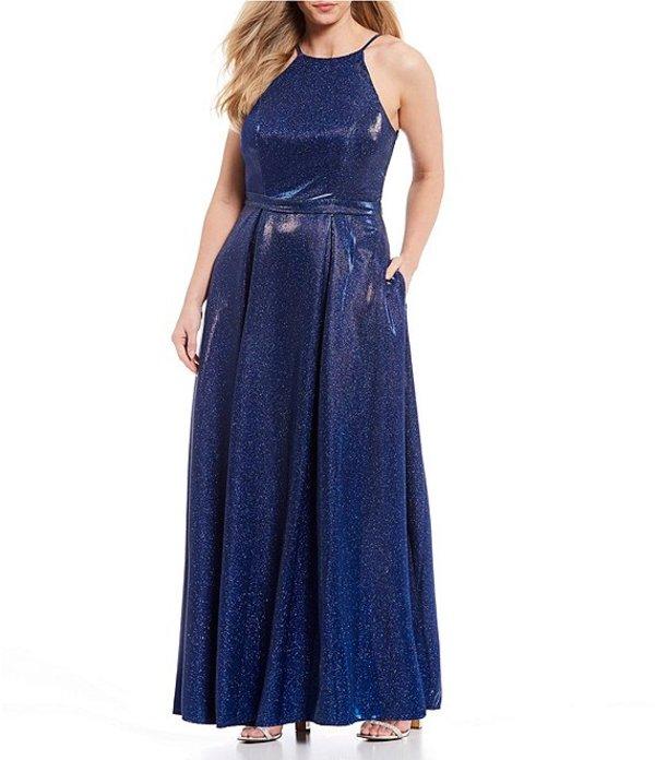 シティヴァイブ レディース ワンピース トップス Plus High-Neck Shimmer Shine Ballgown Cobalt Blue