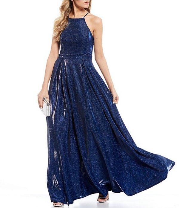 シティヴァイブ レディース ワンピース トップス Sleeveless High-Neck Shimmer Shine Ballgown Cobalt Blue