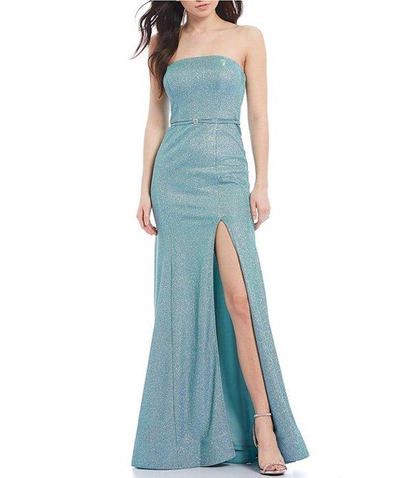 シティヴァイブ レディース ワンピース トップス Strapless Shimmer Shine Trumpet Dress Seafoam Silver