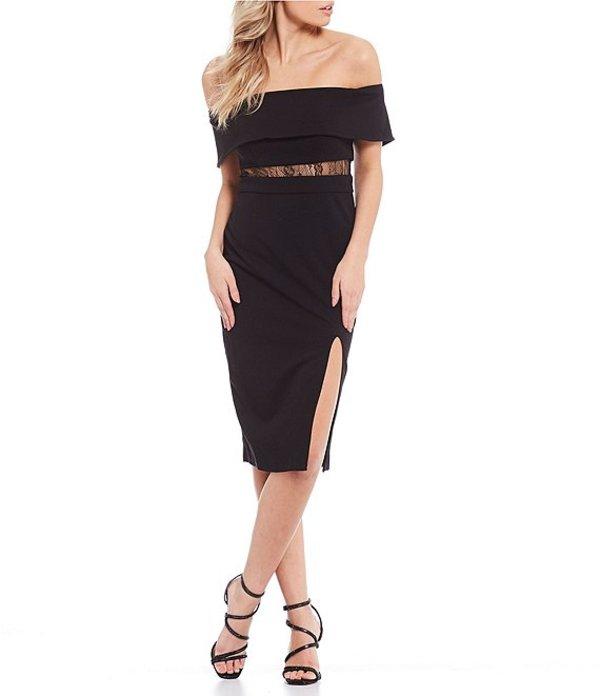 シティヴァイブ レディース ハーフパンツ・ショーツ ボトムス Off-The-Shoulder Illusion-Inset Midi Dress Black