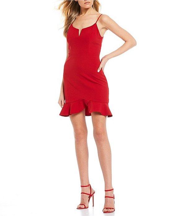 シティヴァイブ レディース ワンピース トップス Spaghetti Strap Notched-Neck Flounce Hem Dress Scarlet Red