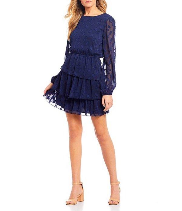 シティヴァイブ レディース ワンピース トップス Long Sleeve Burn-Out Tiered Skirt Dress Navy
