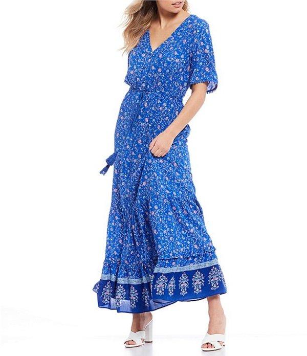 シティヴァイブ レディース ワンピース トップス Short Sleeve Floral Print Button-Front Maxi Dress Blue/Pink