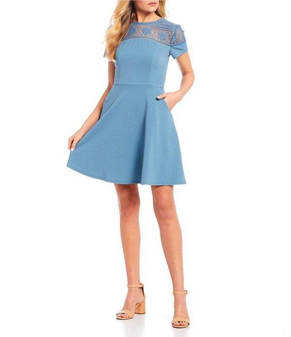 シティヴァイブ レディース ワンピース トップス Short Sleeve Lace Yoke Fit-and-Flare Dress Vintage Blue
