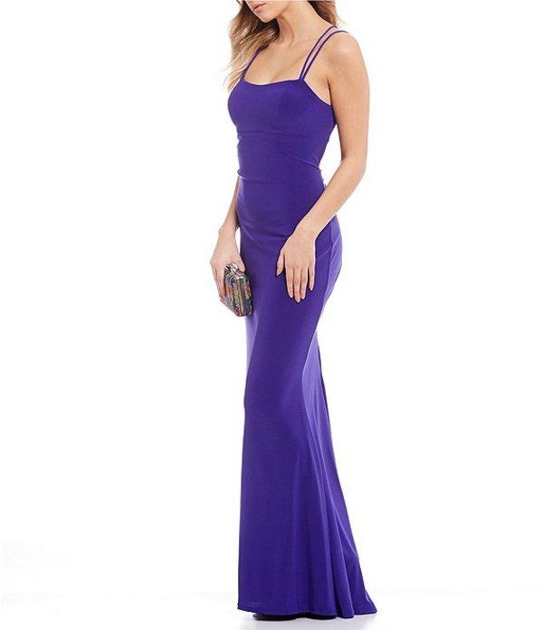 ジャンプ レディース ワンピース トップス Double Spaghetti Strap Square-Neck Lace-Up-Back Long Dress Purple