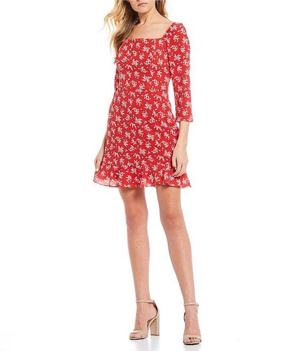 ビーダーリン レディース ワンピース トップス 3/4 Sleeve Floral Print Fit-and-Flare Dress Red/Off White