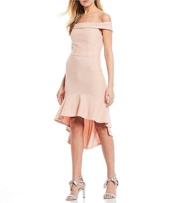 ミッドナイト ドール レディース ハーフパンツ・ショーツ ボトムス Off-the-Shoulder Crepe Flounce-Hem Midi Dress Blush