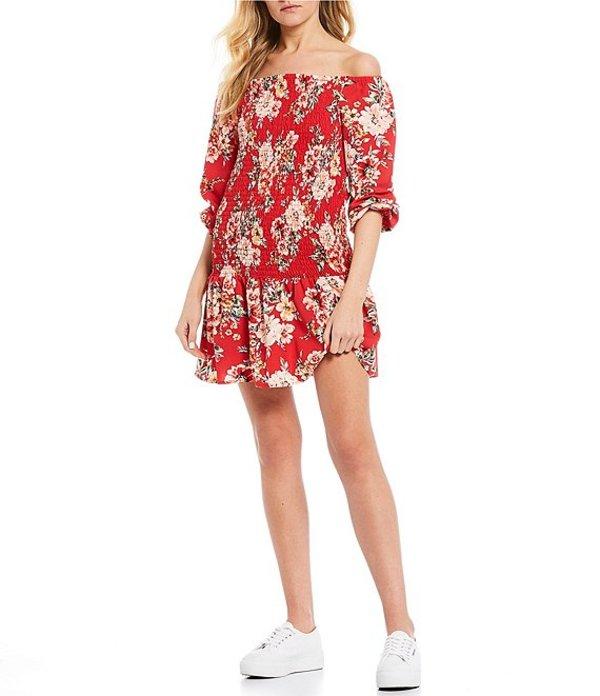 ミッドナイト ドール レディース ワンピース トップス Long Sleeve off-the-Shoulder Smocked Floral Print Dress Coral/Pink