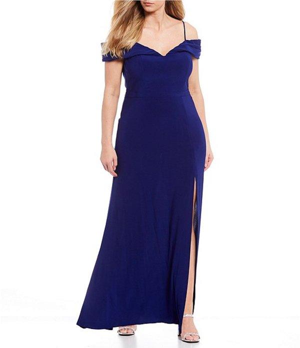モルガン レディース ワンピース トップス Plus Off-the-Shoulder Portrait Neck ITY Long Dress Royal
