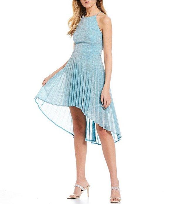ビーダーリン レディース ハーフパンツ・ショーツ ボトムス High-Neck Glitter Knit Pleated High-Low Dress Aqua/Silver