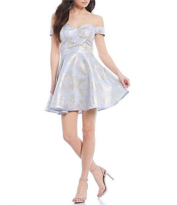 ビーダーリン レディース ワンピース トップス Off-The-Shoulder Floral Jacquard Fit and Flare Dress Silver/Periwinkle/Off White