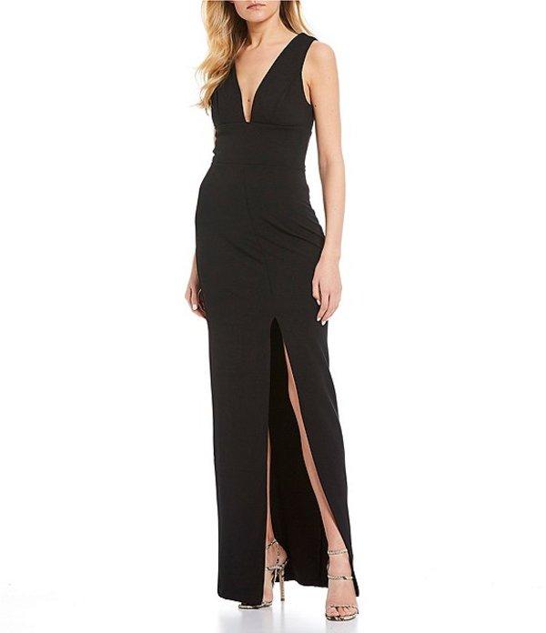 ビーダーリン レディース ワンピース トップス Sleeveless Deep V-Neckline Long Dress Black