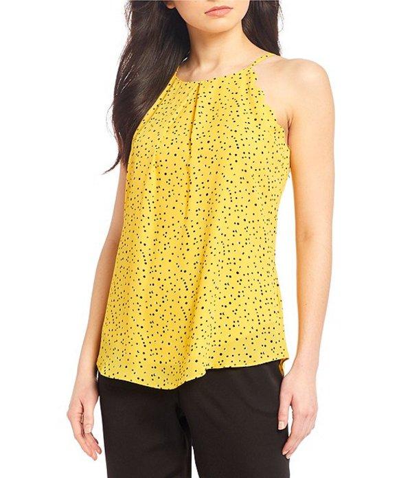 I.N.サンフランシスコ レディース シャツ トップス Spaghetti Strap Scalloped Ditsy Print Top Yellow/Black Dot