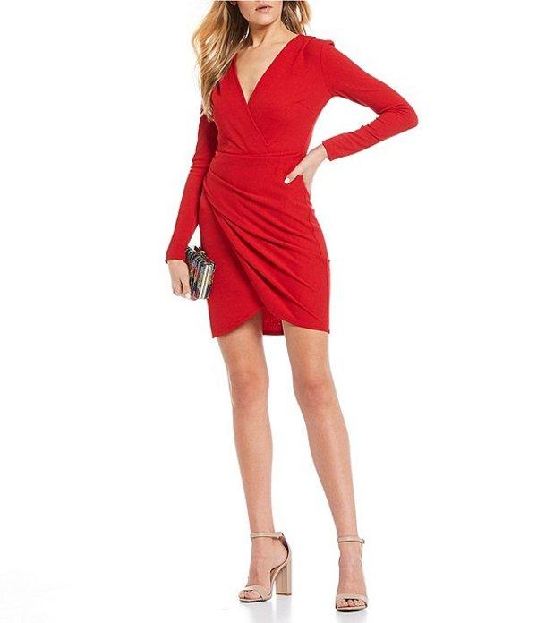 ビーダーリン レディース ワンピース トップス Long Sleeve Faux-Wrap Sheath Dress Red