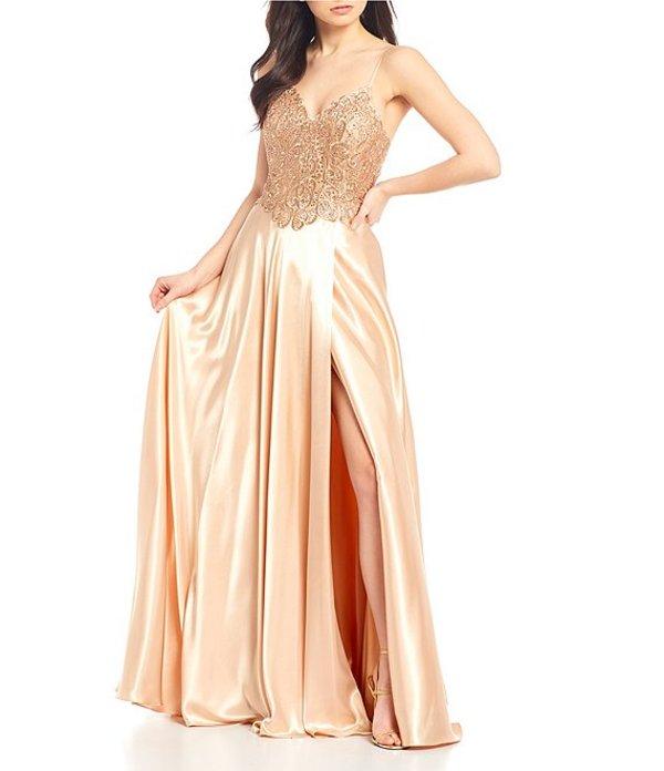 ジービー レディース ワンピース トップス Social Embroidered Satin Long Dress Rose Gold