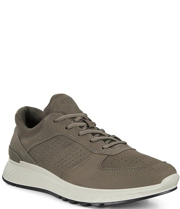 エコー メンズ スニーカー シューズ Men's Exostride Leather Lace-Up Shock Absorbing Sneakers Dark Clay