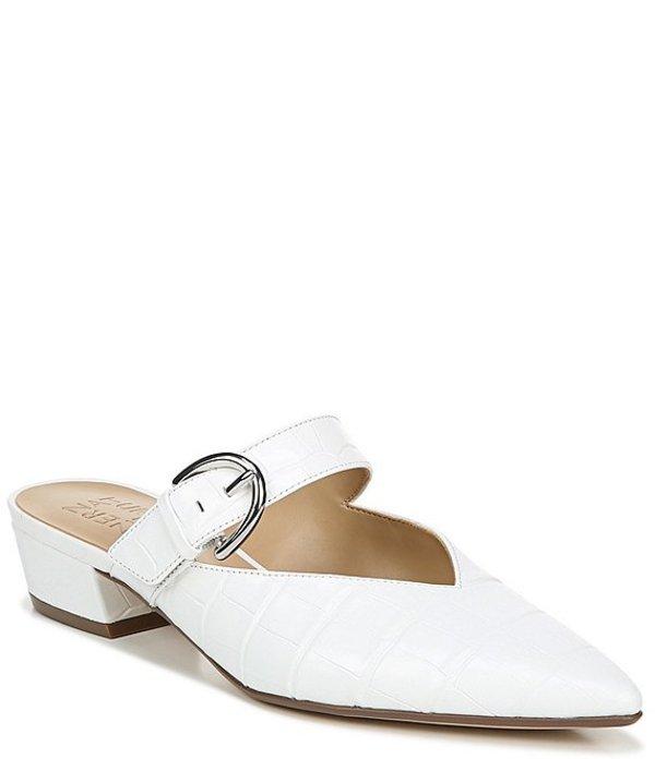 ナチュライザー レディース ヒール シューズ Bess Croco Embossed Leather Pointed Toe Mules White Croco